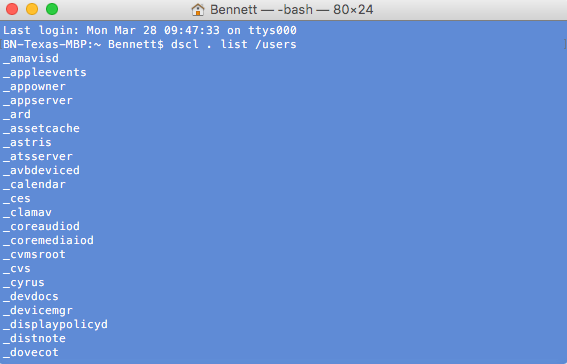 dscl . list /users - LANDESK Custom Data - OS X